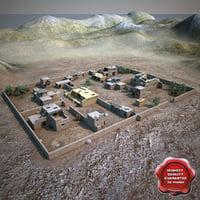 afghanistan village houses 3d obj