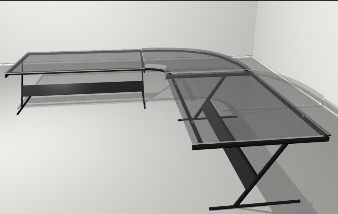 glass desk 3d model