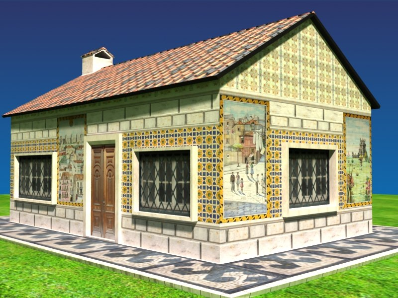 portuguese house traditional tiles 3d max