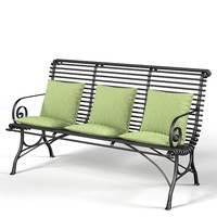 Iron terrace garden bench provence style traditional classic forged