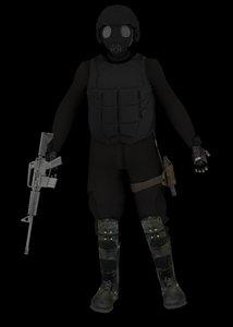 3d model soldier gas mask
