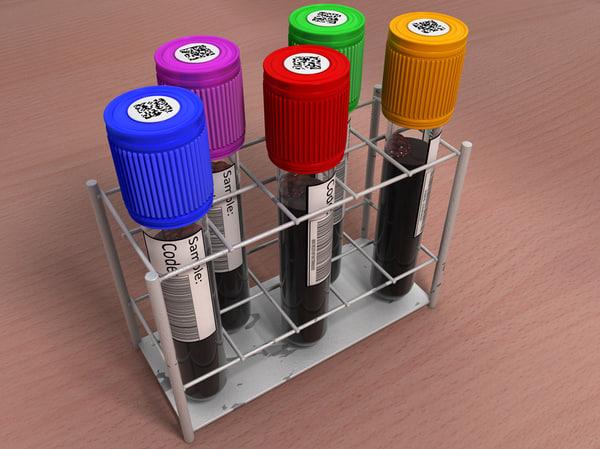 c4d rack test tubes blood