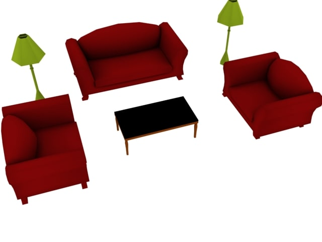 3d living room set couch