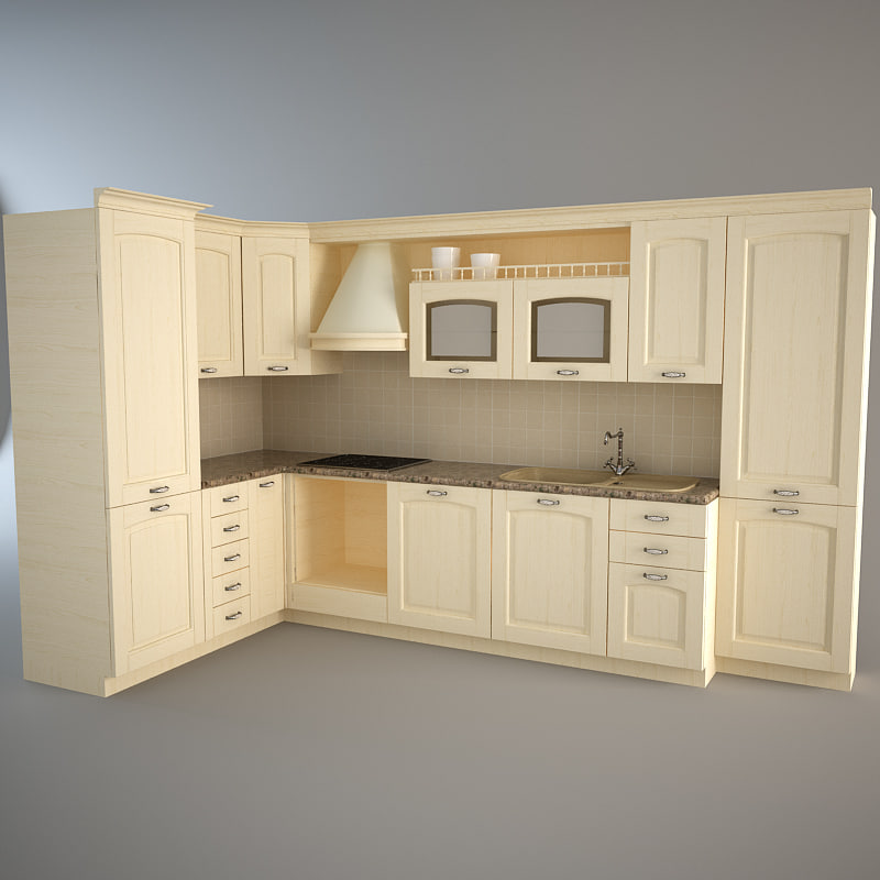 set traditional kitchen 3ds