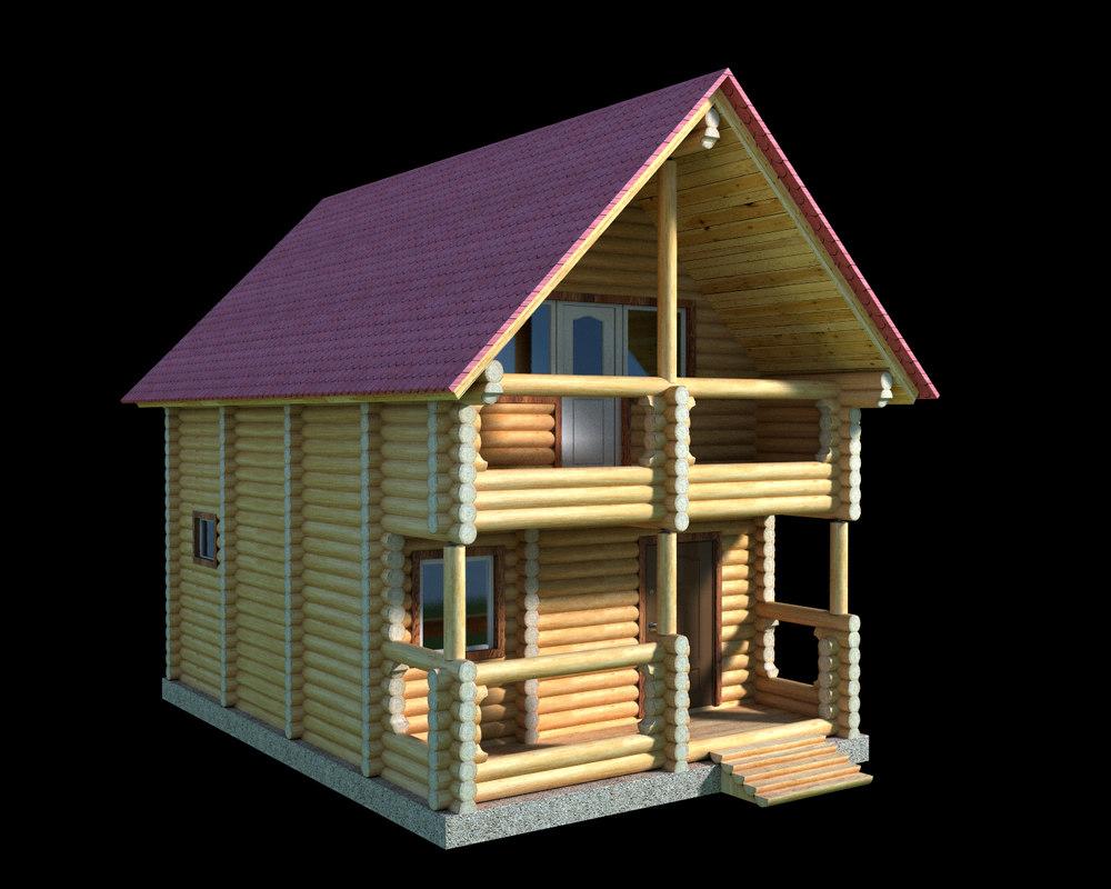 obj log wooden house