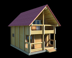 obj log wooden house