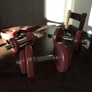 dumbbell bar weights 3d model