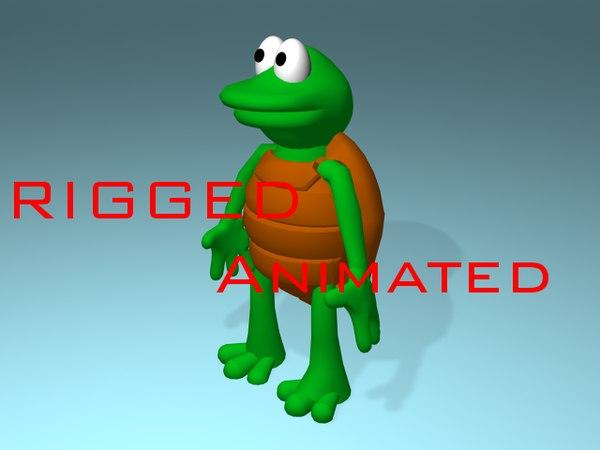 3d cartoon turtle animations model
