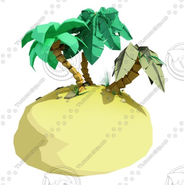 3d model tropical island