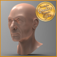 3d old human male head