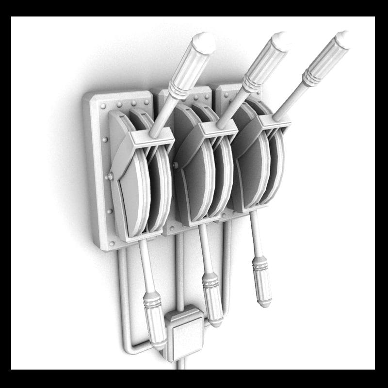 lever metal 3d 3ds