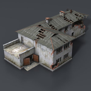 c4d wrecked house interior
