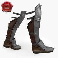 3d model of medieval armour boots v3