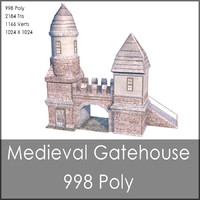 Medieval Gatehouse, Low Poly, Textured