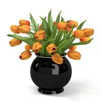 ORANGE Tulips Bouquet In The Vase ELEGANT ACCESSORY HOME DECOR ENERANCE