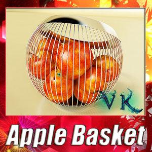 3d model fruit basket red apple
