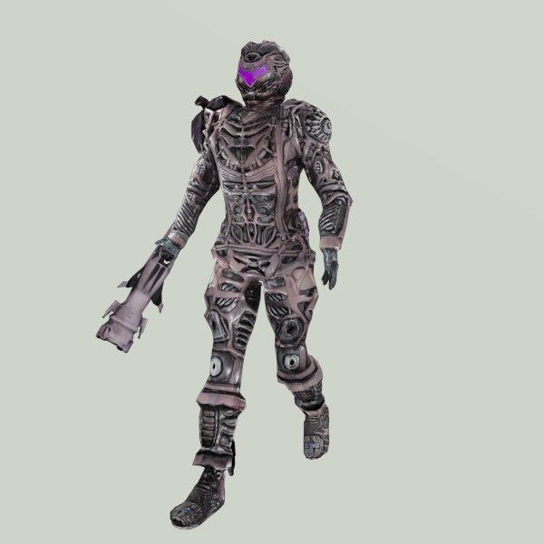 robot droid character walk 3d model