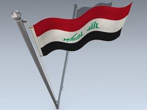 3d model official flag iraq