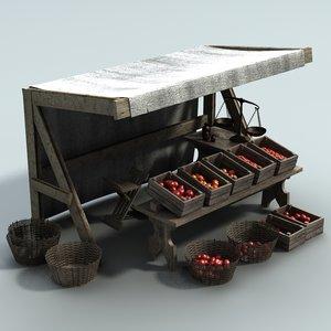 medieval fantasy marketstall version 3d lwo