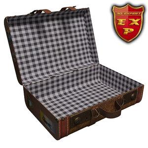 3d old suitcase open model
