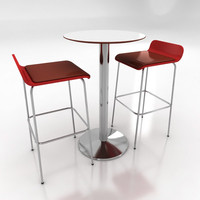cafe table chairs 3ds