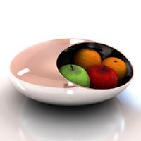 3d chrome fruit bowl model