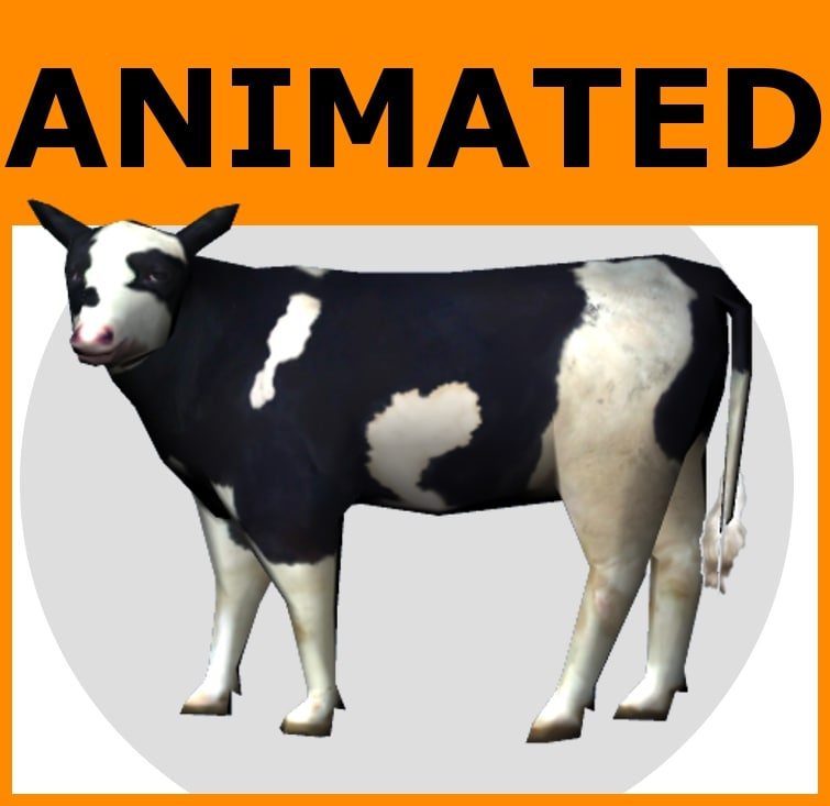 rigged cow set animations 3d model