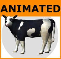 Animated Low Poly Cow Set