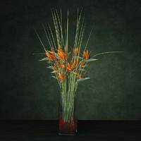 3d exotic bouquet enterance model