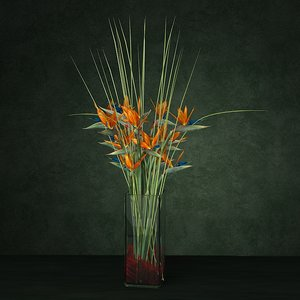 3d exotic bouquet enterance model