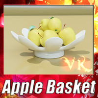 3d fruit basket 05 golden model