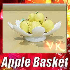 3d fruit basket 05 golden model