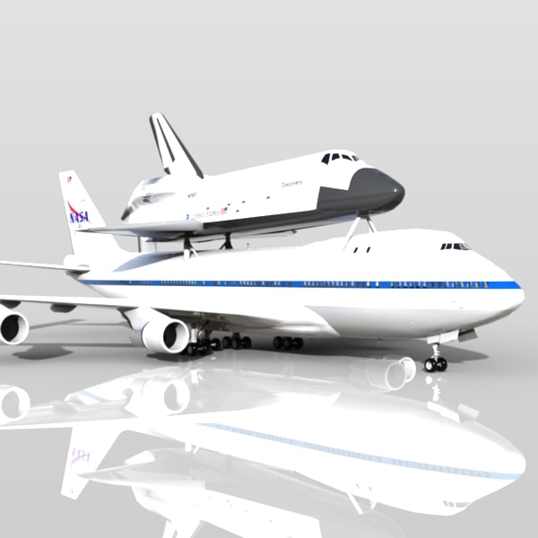 3d shuttle carrier aircraft boeing 747 model
