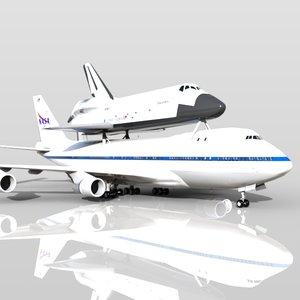 3d shuttle carrier aircraft boeing 747 model