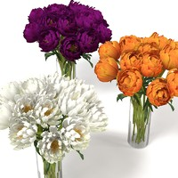 WHITE VIOLET ORANGE PIONES PAEONY PEONY FLOWERS ENDERANCE INTERIOR ACCESSORY DECOR ACCENT BOUQUET CHRYSANTEMUM VASE