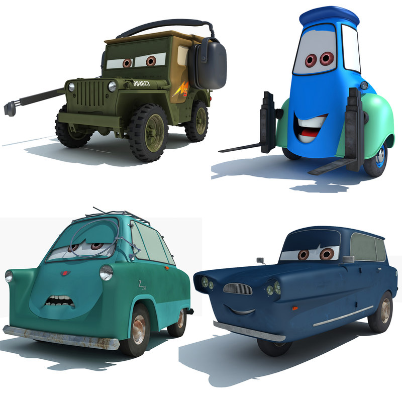 characters disney pixar cars 3d model