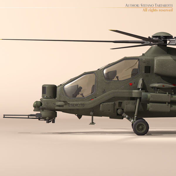 a129 mangusta attack helicopter 3d 3ds