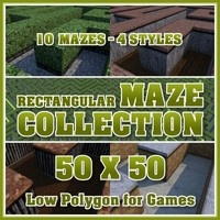 50x50 Low Polygon Rectangular Maze Collection