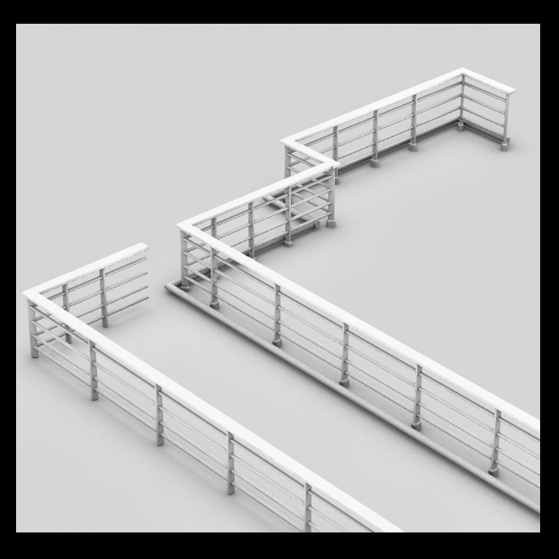 handrail rail metal 3ds