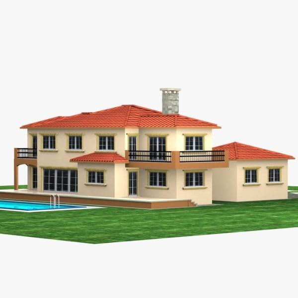 3d model house pool