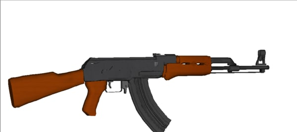 free ak-47 assault rifle 47 3d model