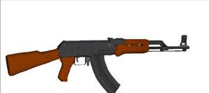 free ak-47 assault rifle 47 3d model