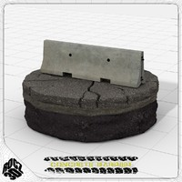 3d model concrete crash barrier