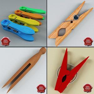 clothespins set modelled max