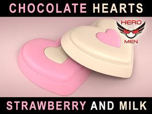 3d render chocolate hearts model