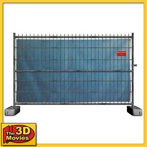 construction fence - 3d 3ds
