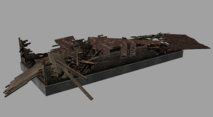 3d model of destroyed house