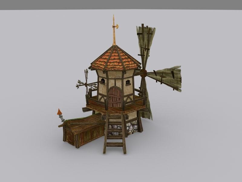 3d medieval fantasy windmill