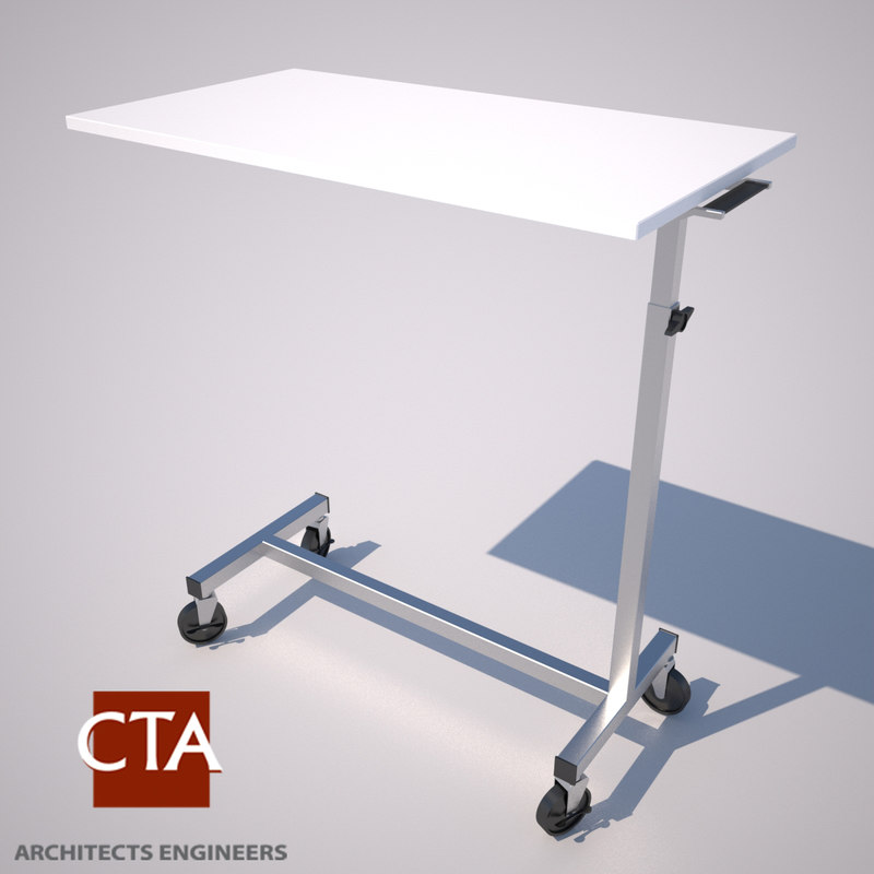 bedside rolling table beds 3d model