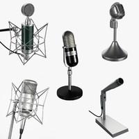 5 microphones set 3d obj